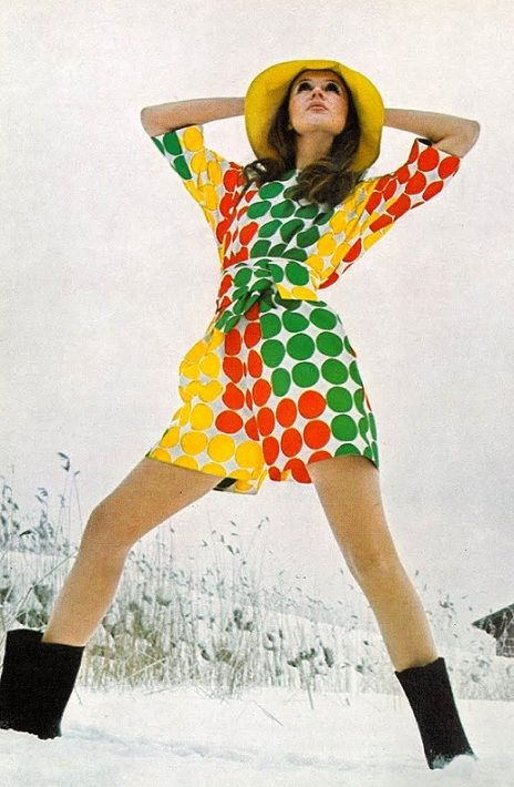 pinterest.com/fra411 #60's - Green, red and yellow culotte dress, 1969