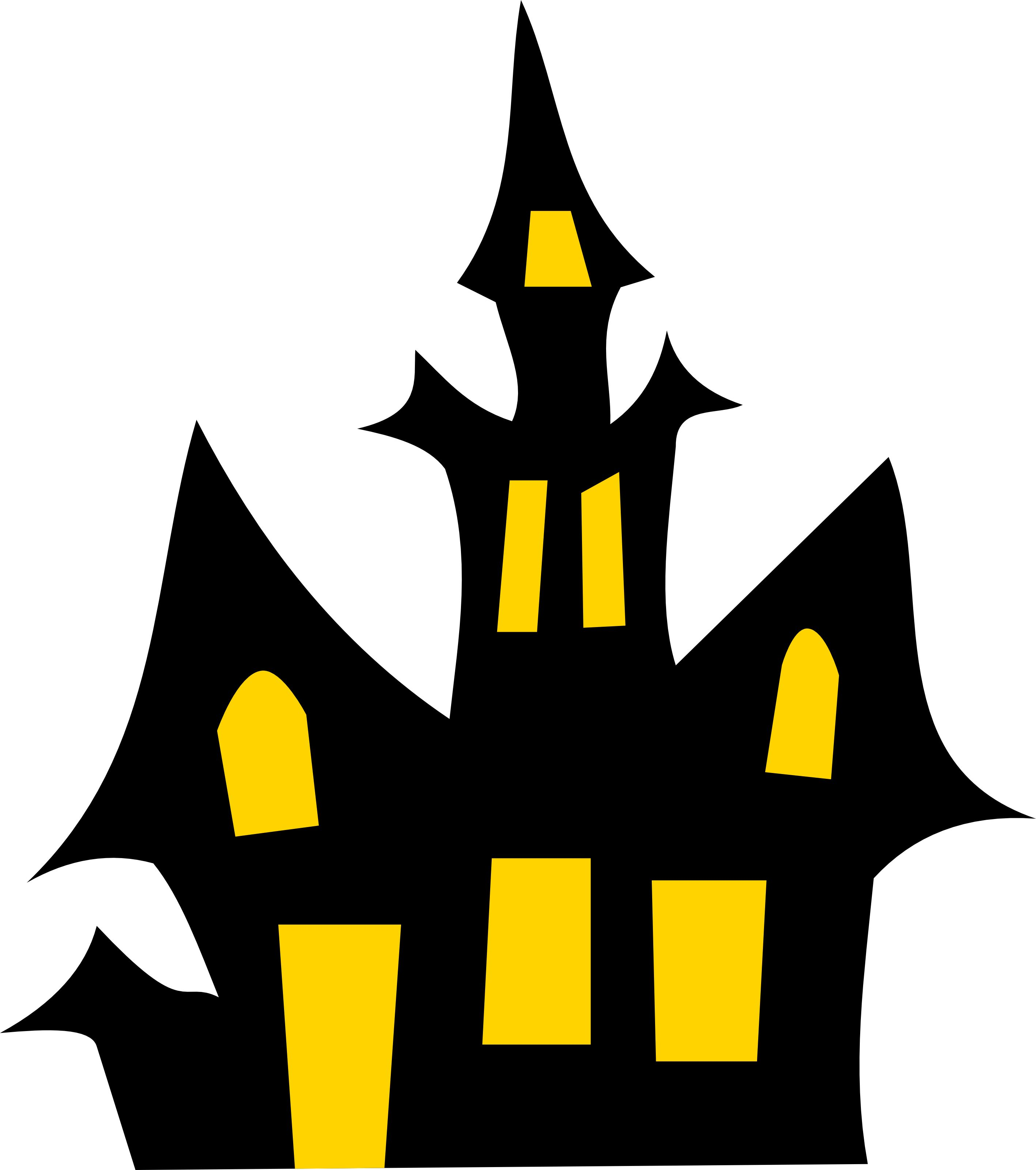 free haunted house halloween vector clipart illustration [ 2834 x 3200 Pixel ]