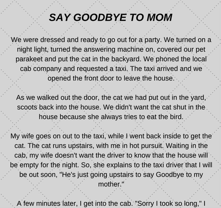 Say Goodbye To Mom - Funny Story #funny #jokes