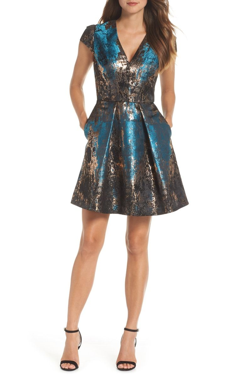 2efeb45548434 Free shipping and returns on Vince Camuto Jacquard Fit & Flare Dress ...