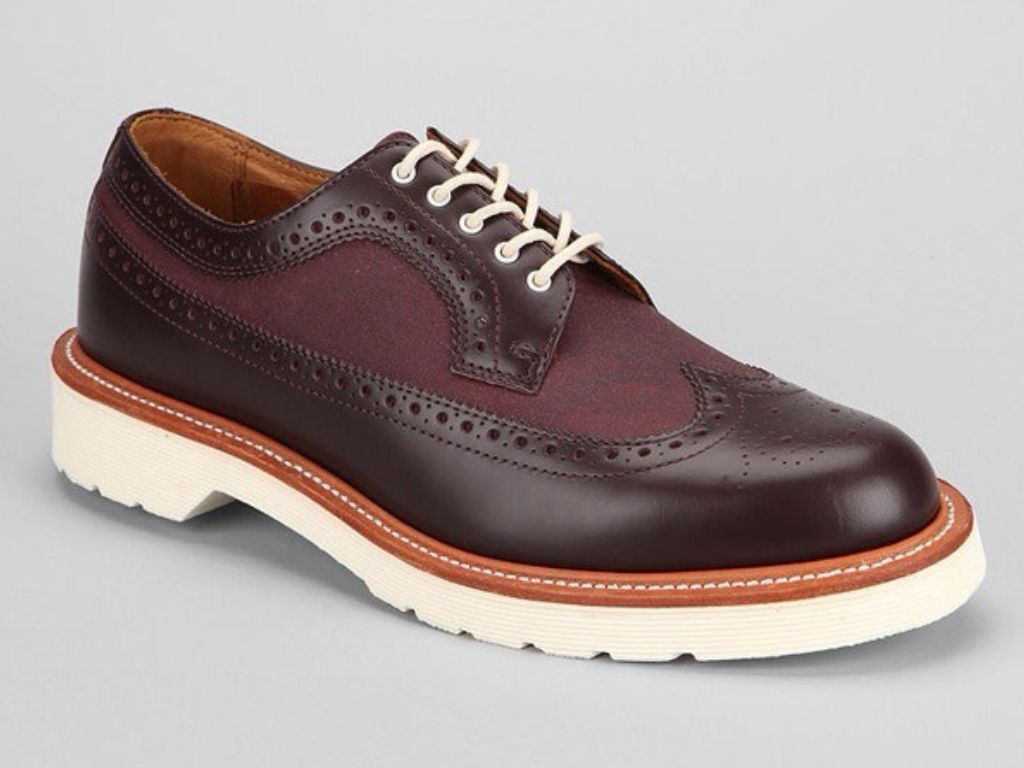 Burgundy Wingtip Brogue With White Soles By Doc Marten At Urban Outfitters Mens Spring Summer Fashion Leather Shoes Men Brogue Shoes Mens Boots Fashion [ 768 x 1024 Pixel ]