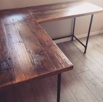 l shaped desk reclaimed wood diy in 2019 reclaimed wood rh pinterest com