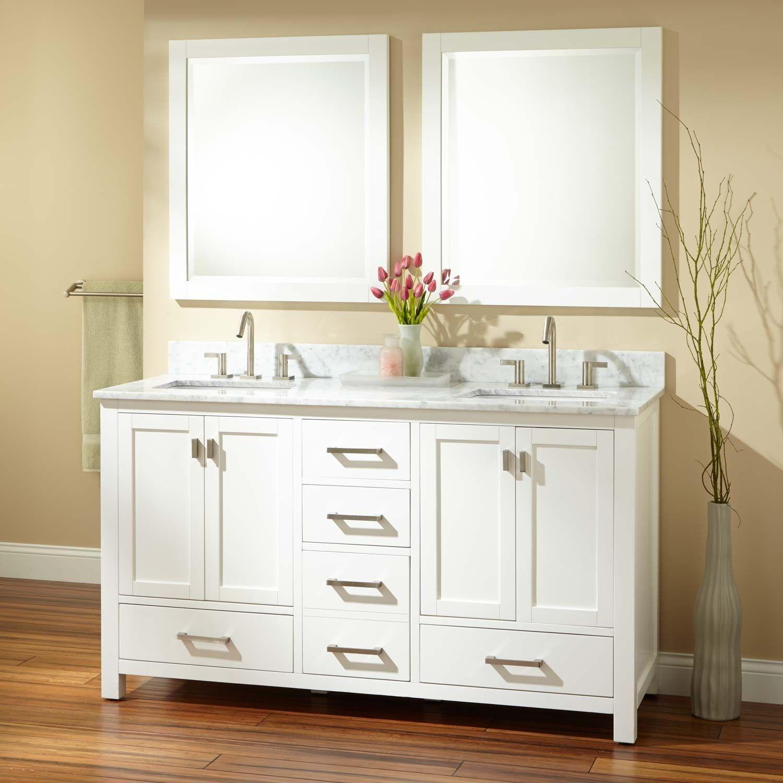 Double sink white bathroom vanities