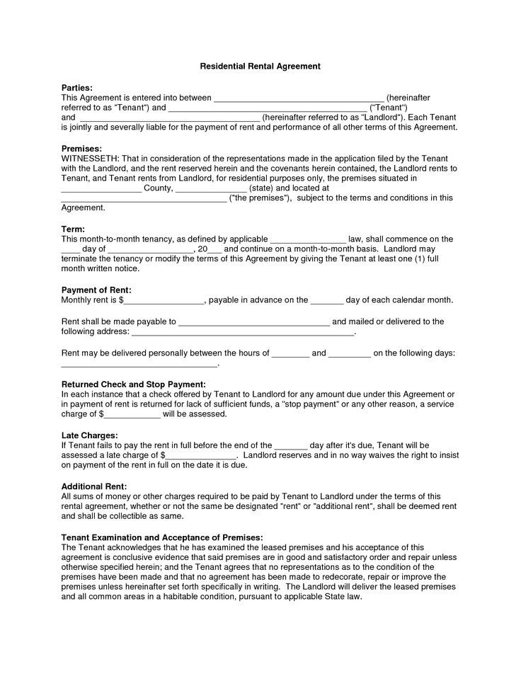 Free Copy Rental Lease Agreement Residential Rental Agreement - apartment lease agreement free printable