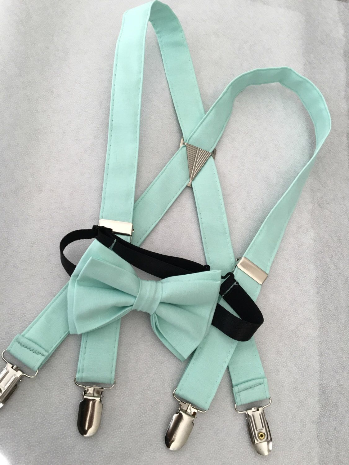 Mint green suspenders and bow tie set for baby's,toddlers,kids,teens,