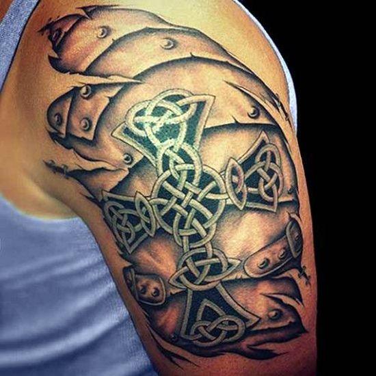 Scottish Celtic Tattoos For Men: 3D Cross Tattoo For Men Shoulder. For More, Visit