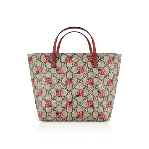 335526342d2 GUCCI Girls Beige   Red Ladybird Tote Bag