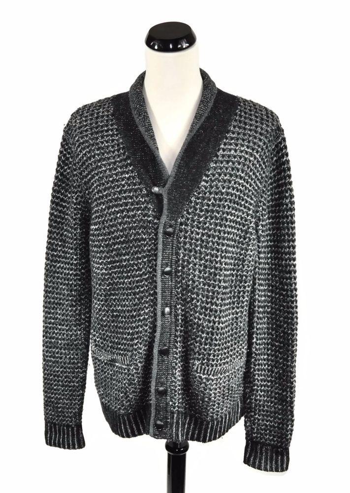 Rag & Bone Neiman Marcus Target Black Gray Knit Men's Cardigan ...