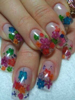 Rainbow Dried Flower Nail Art Grooming Time Pinterest