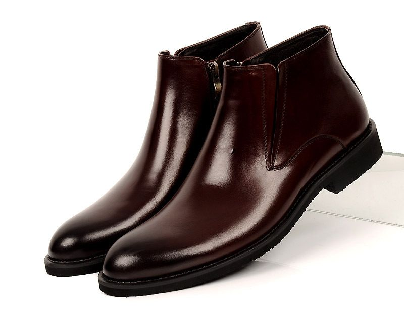 Fashion Brown Tan Black Mens Ankle Boots Wedding Shoes Genuine Leather Formal Dress New Office