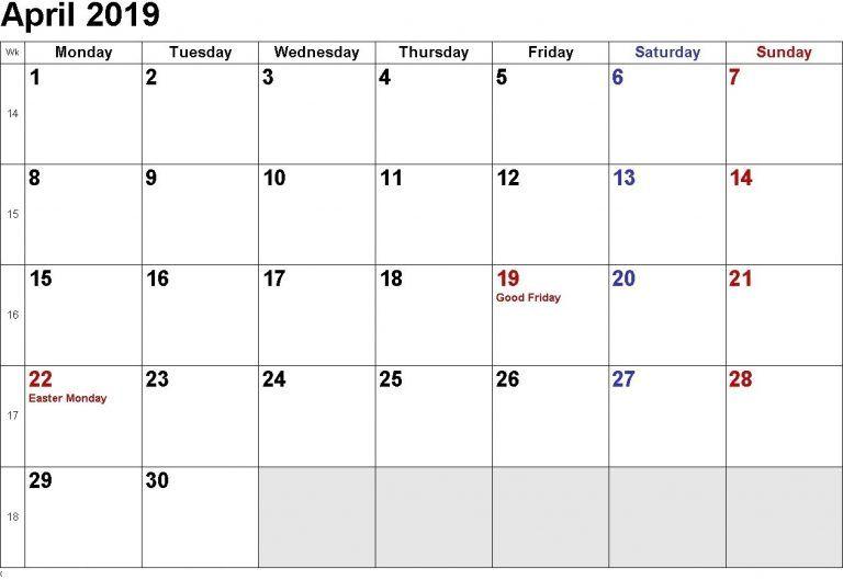 April 2019 Calendar Word Calendar of February 2019 Calendar