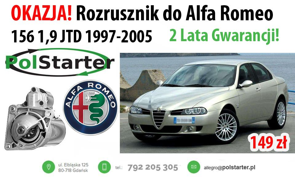 Rozrusznik Alfa Romeo 145 Fiat Brava Marea Lancia 6595479447 Oficjalne Archiwum Allegro Alfa Romeo Fiat Romeo