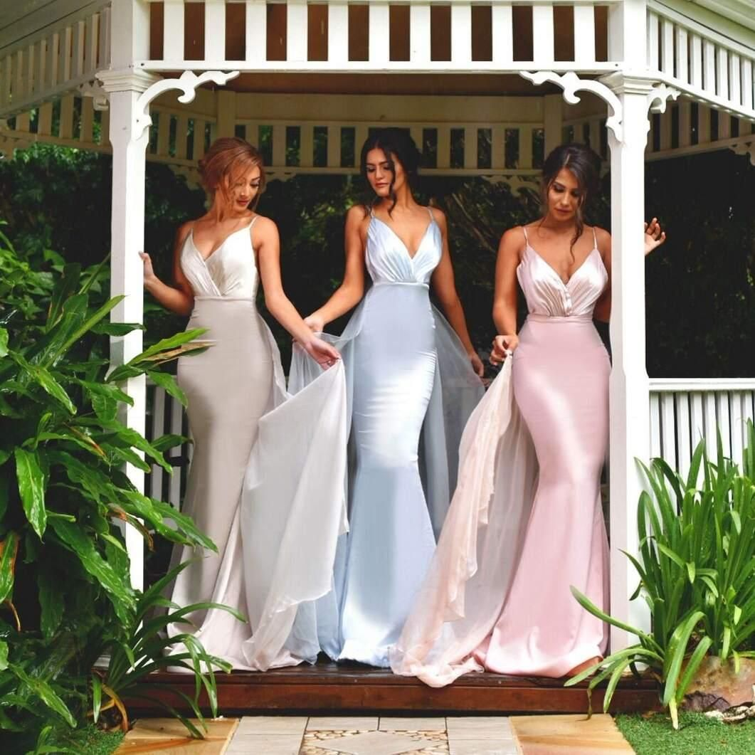 Charming backless bridesmaids dresses v neck sleeveless mermaid