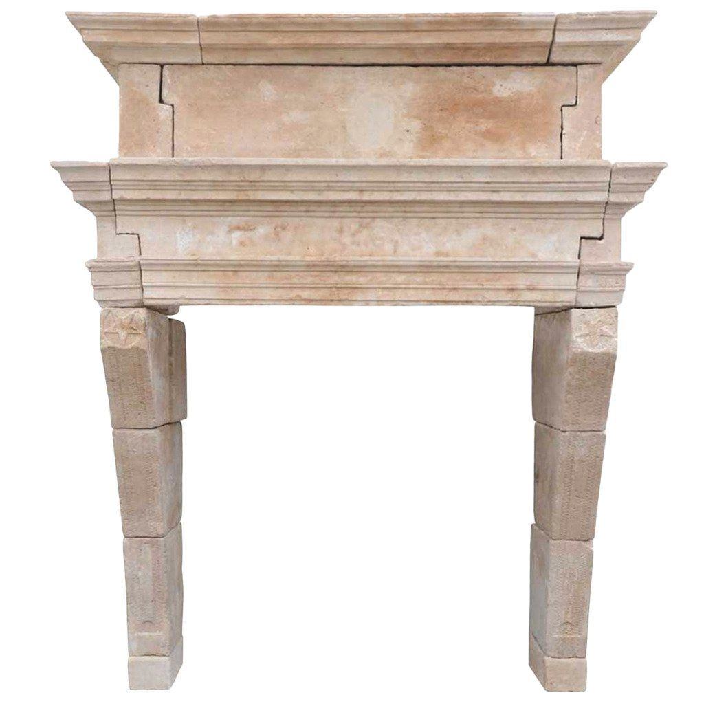 Franch Louis XIII Period Limestone Fireplace, 17th Century