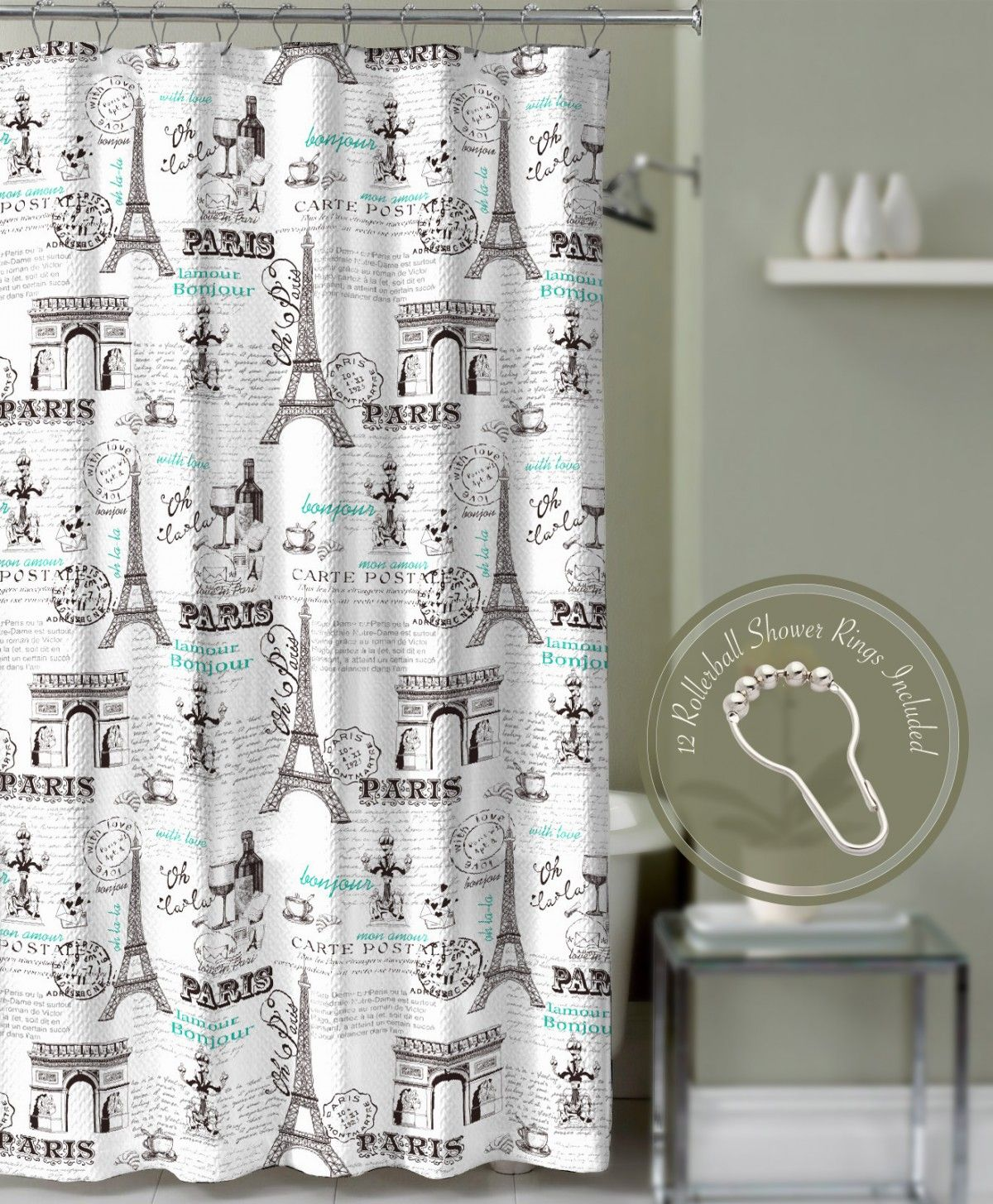 Crest Home Bonjour Paris Eiffel Tower Shower Curtain Teal With Roller Ball Hooks Curtains Bed Bath Greydock