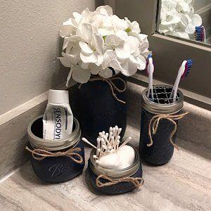 Rustic Bathroom Decor, Mason Jar Bathroom Set, Mason Jar Decor, Bathroom Set, Rustic Decor, Bathroom Storage, Mason Jar, Gray