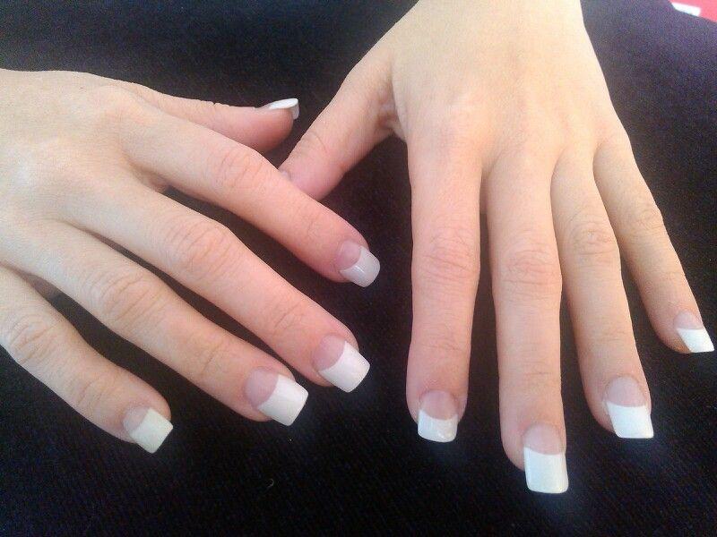 Uñas, acrilicas, punta blanca, elegancia. | unas | Pinterest