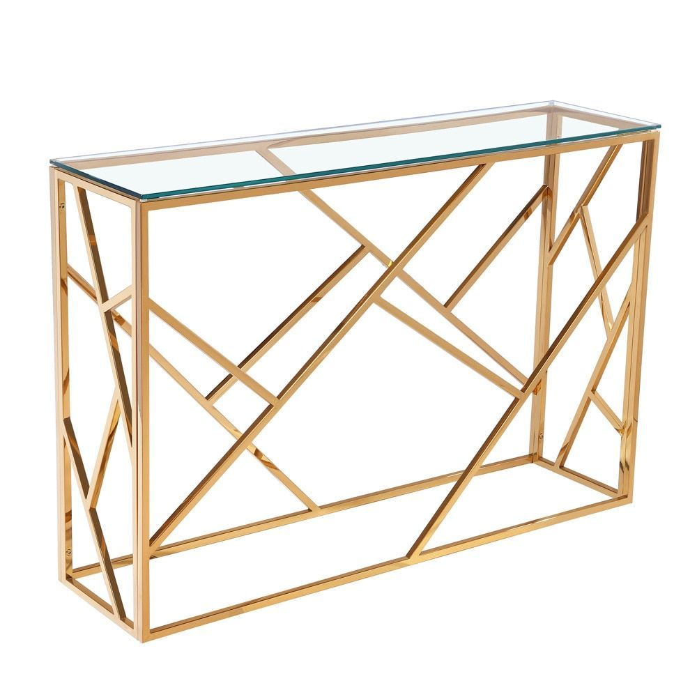 calypso gold metal and glass rectangle console table uptown club rh pinterest com