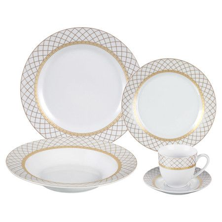 Crafted of elegant porcelain and featuring gold-hued accents, this stately dinnerware set serves 4 guests in timeless style.  Produc...