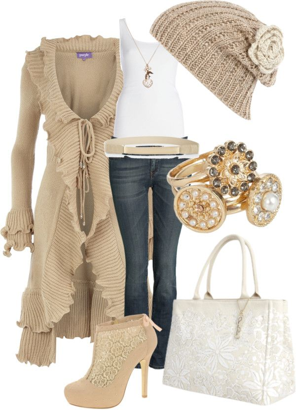 """Ruffled cardigan & lace boots"" by tchantx on Polyvore"