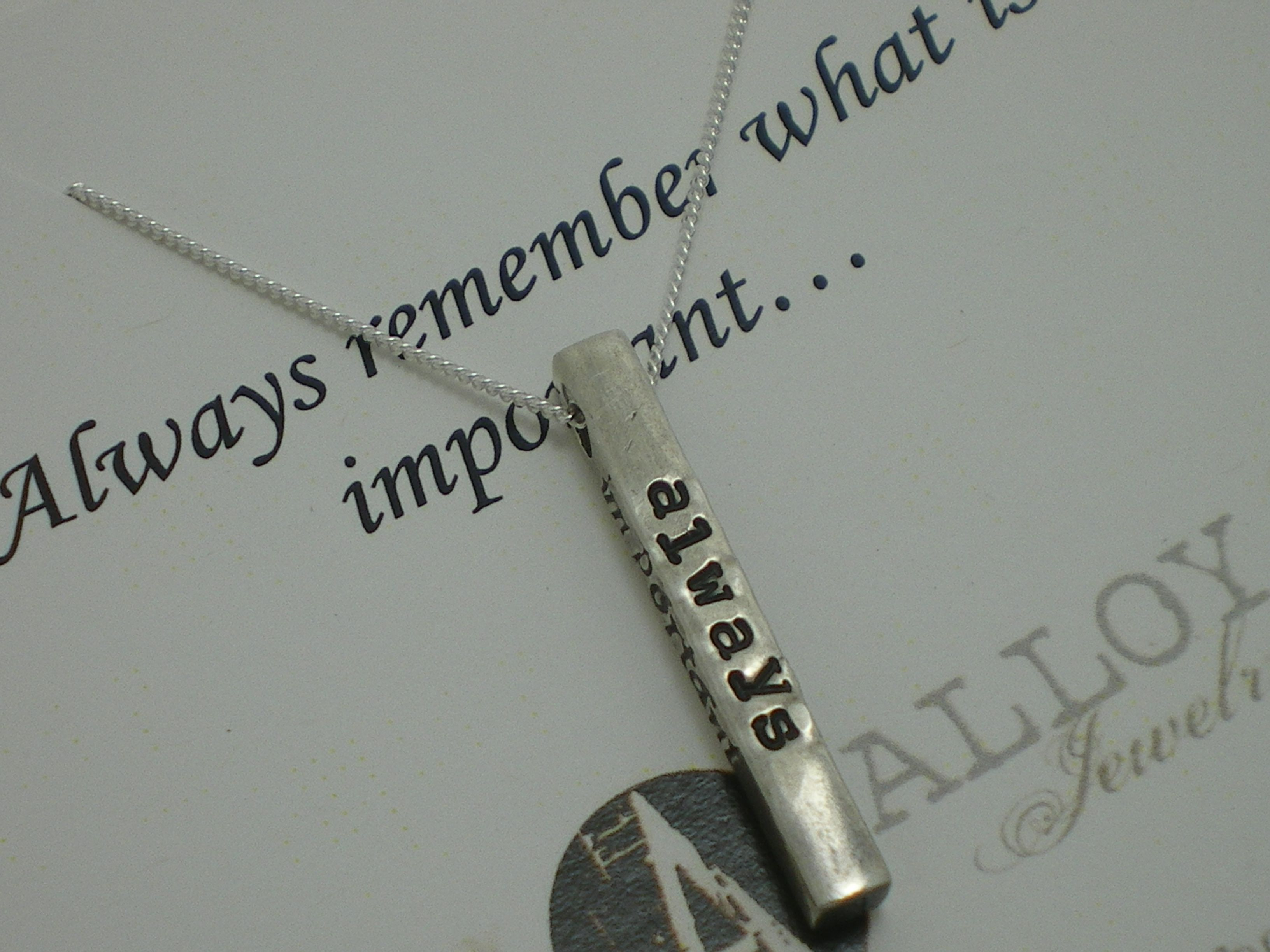 Always remember what is important quote necklace  www.shopalloyjewelry.com