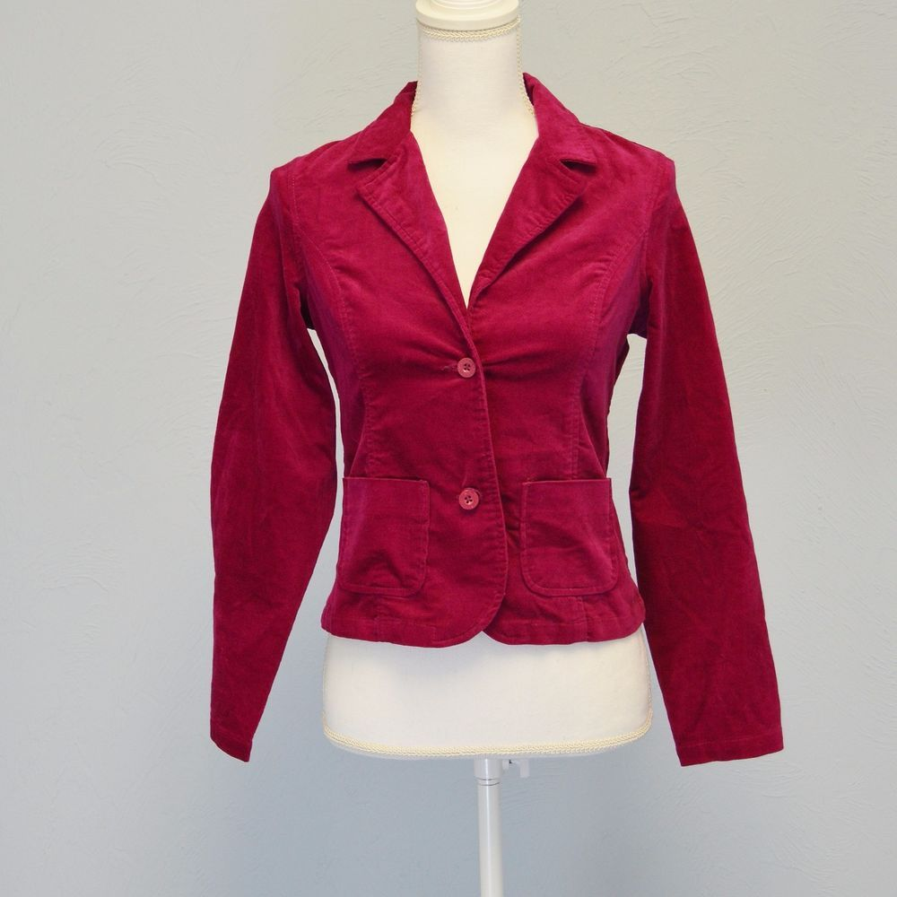Nwot tommy hilfiger velour jacket girl l cranberry red buttoned