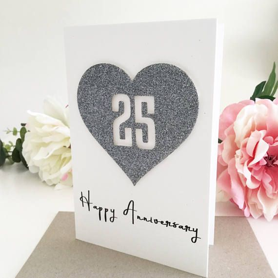 Silver Wedding Gifts For Husband: 25th Anniversary Card, Happy Anniversary, 25th Wedding