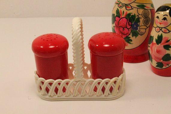 Vintage Cylinder Salt and Pepper Shakers with Holder