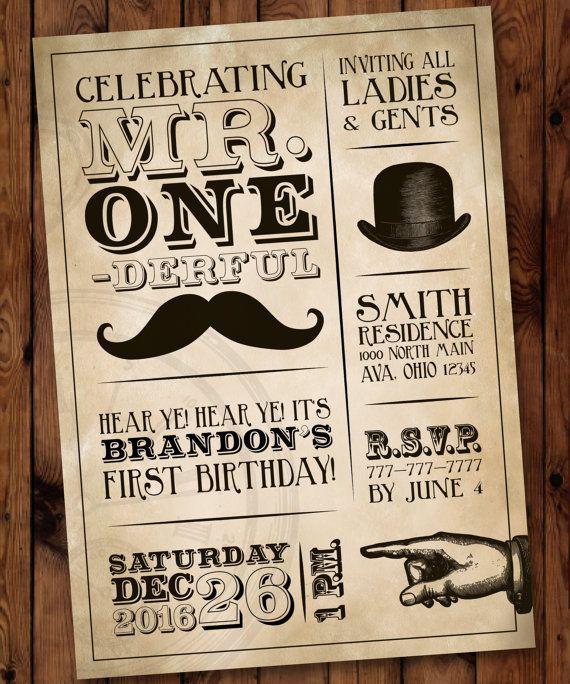 Mr Onederful Birthday Party Invitation Boy First Birthday Invite