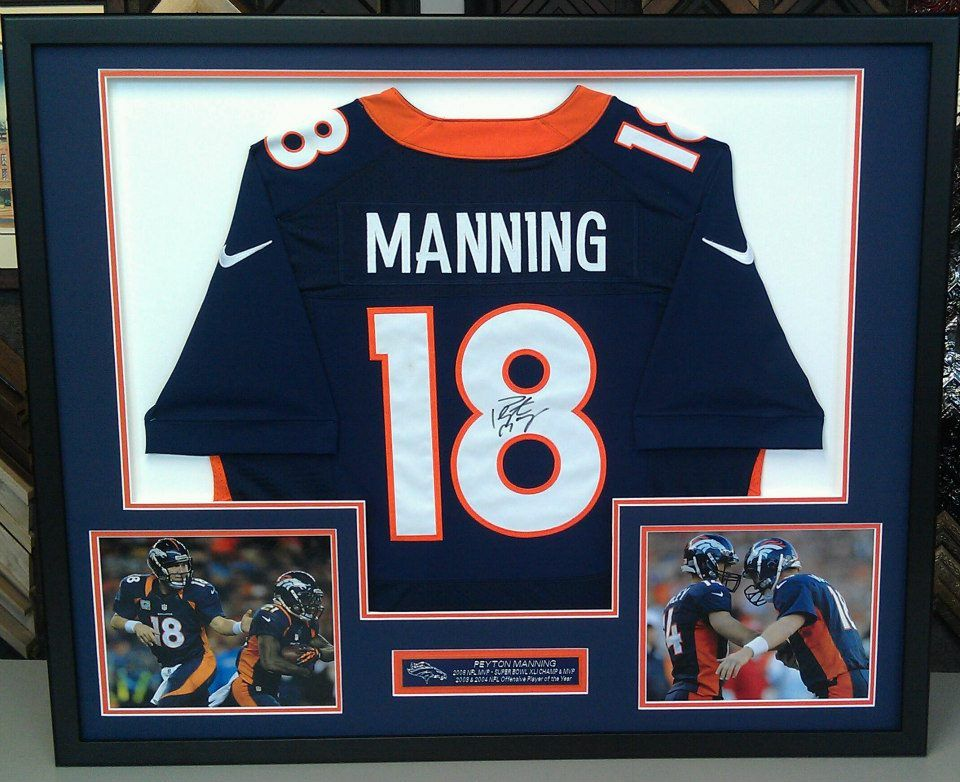 custom framed peyton manning denver broncos jersey with photographs and nameplate custom framed by fastframe