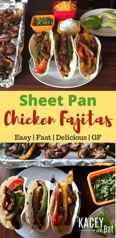 Wow! I mean does it get easy than this! Sheet Pan Chicken Fajitas in 20 minutes! Chicken breasts seasoned with our homemade fajita seasoning and cooked with red green and yellow peppers and onion all on one pan with no clean up. #sheetpanchicken #dashdiet #sheetpanchickenfajitas #chickenfajitas #gutenfreerecipes #easydinnerrecipe #homemadefajitaseasoning
