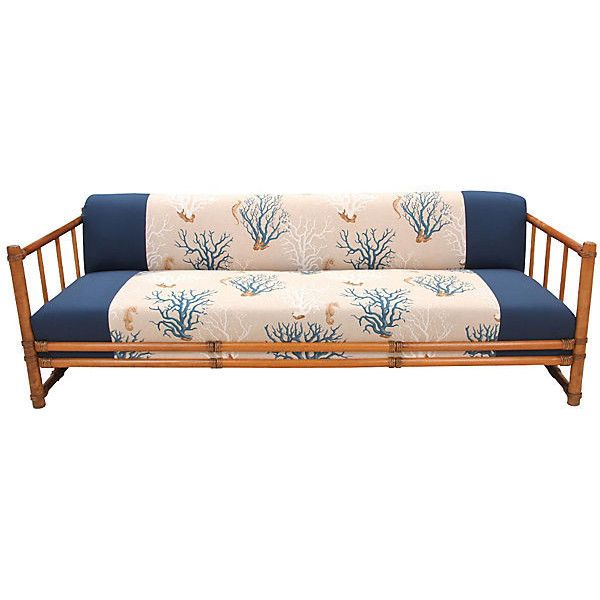 Pre-Owned Blue Coral Bamboo Sofa ($1,565) ❤ liked on Polyvore ...