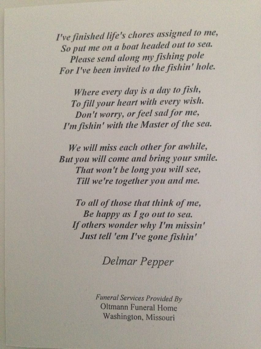 funeral poem on fishing aging elderly death pinterest