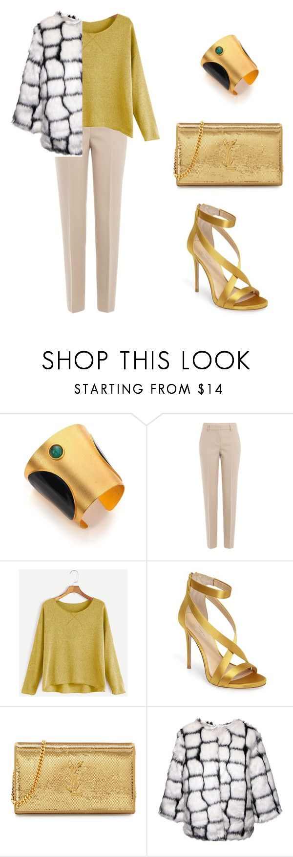 """""""gold girl"""" by candynena228 ❤ liked on Polyvore featuring Paula Mendoza, DKNY, Imagine by Vince Camuto and Yves Saint Laurent"""