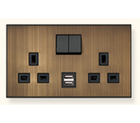Image for MK Elements 13A 2 Gang  Twin USB DP Switched Socket Outlet Metallics Brushed Bronze K34343MBB