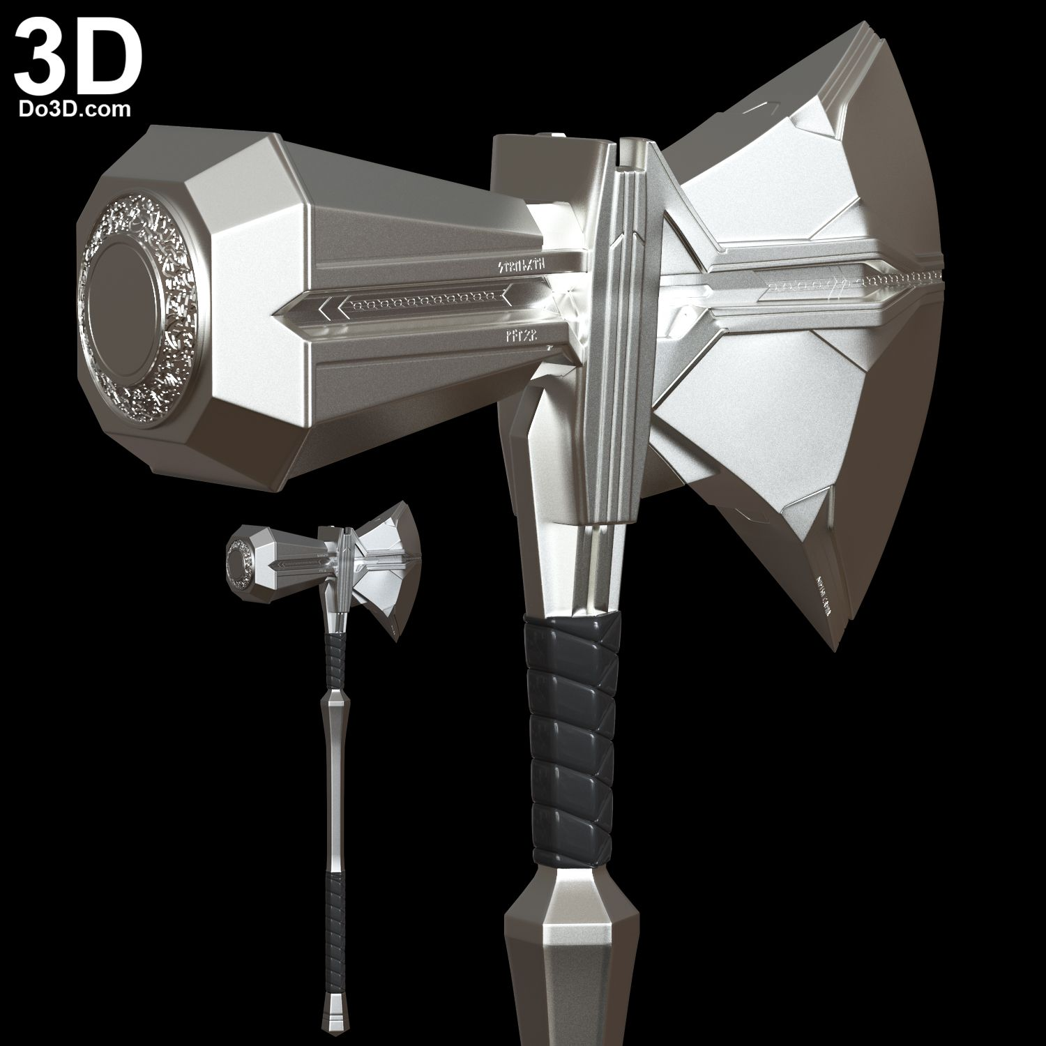3D Printable Model: Thor Stormbreaker Axe Weapon with Curved Handle