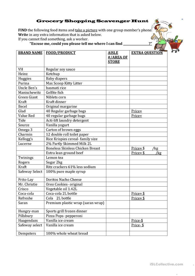 Grocery Shopping Scavenger Hunt Worksheet Free Esl Printable Worksheets Made By Teac Math Worksheets Free Printable Math Worksheets Printable Math Worksheets