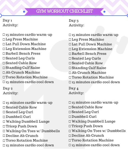 Beginner Gym Workout For Women Printable #workoutplan