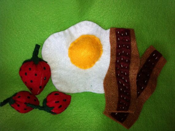 "Felt Food Breakfast Fried Egg, 2 Strips Bacon and 3 Fresh Strawberries  ""I Heart Missions""  Etsy shop"