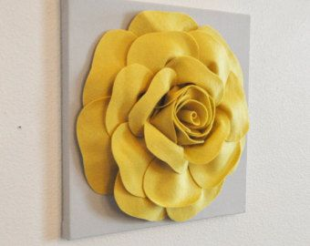 Home Decor Flower Wall Hanging  Mellow Yellow Rose On Gray 12 Canvas Wall  Art  Felt Flower Part 38