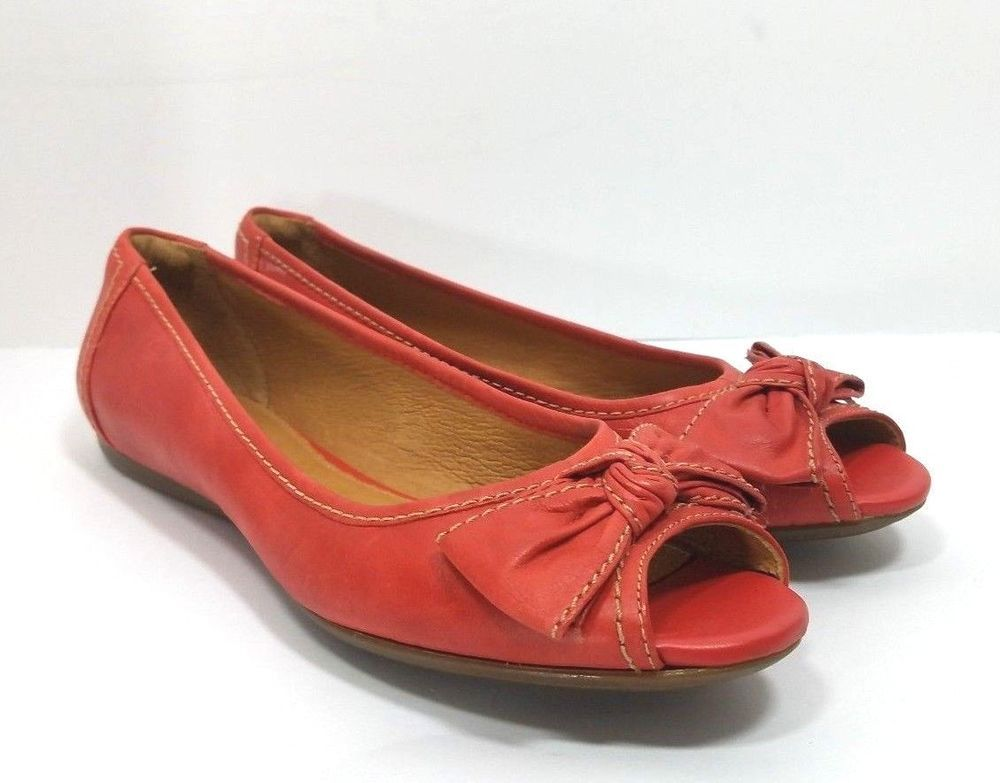 Clarks shoe womens size 75 m artisan red leather peep toe