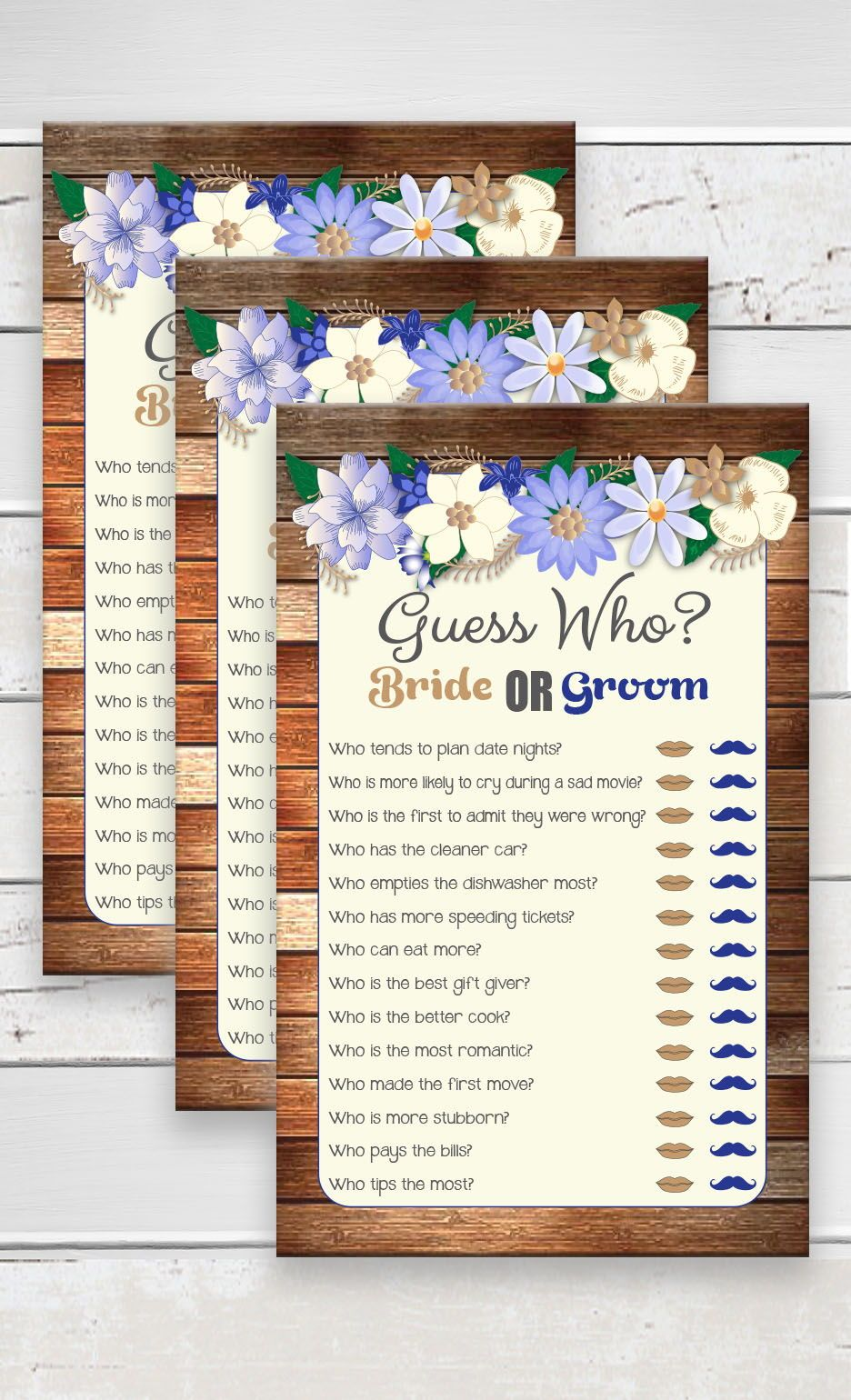 this guess who bridal shower game is adorned with beautifully colored flowers of blue tan and white guess who said it the bride or groom