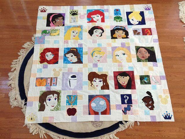 princess+quilts+patterns   Paper piecing Princess Disney quilt photo only Princess patterns on ...
