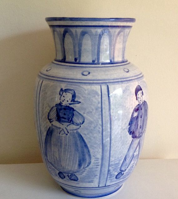 Unusual Antique Villeroy And Boch Vase Delft Type Panels Made In