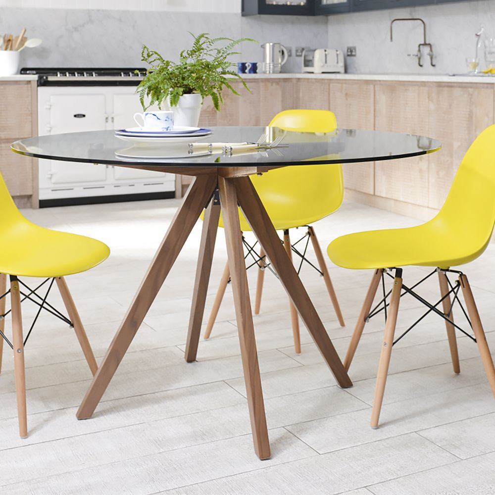 Tempered Gl Round Dining Table With Walnut Legs It Can Accommodate 4 People For Your