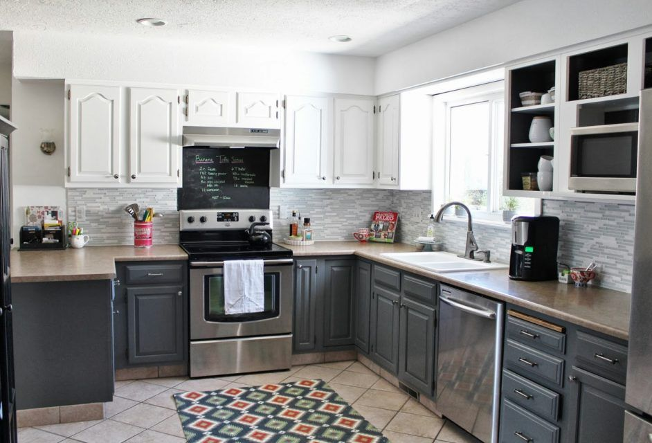 Best Enchanting Grey Kitchen With Brown Granite Countertop And 640 x 480
