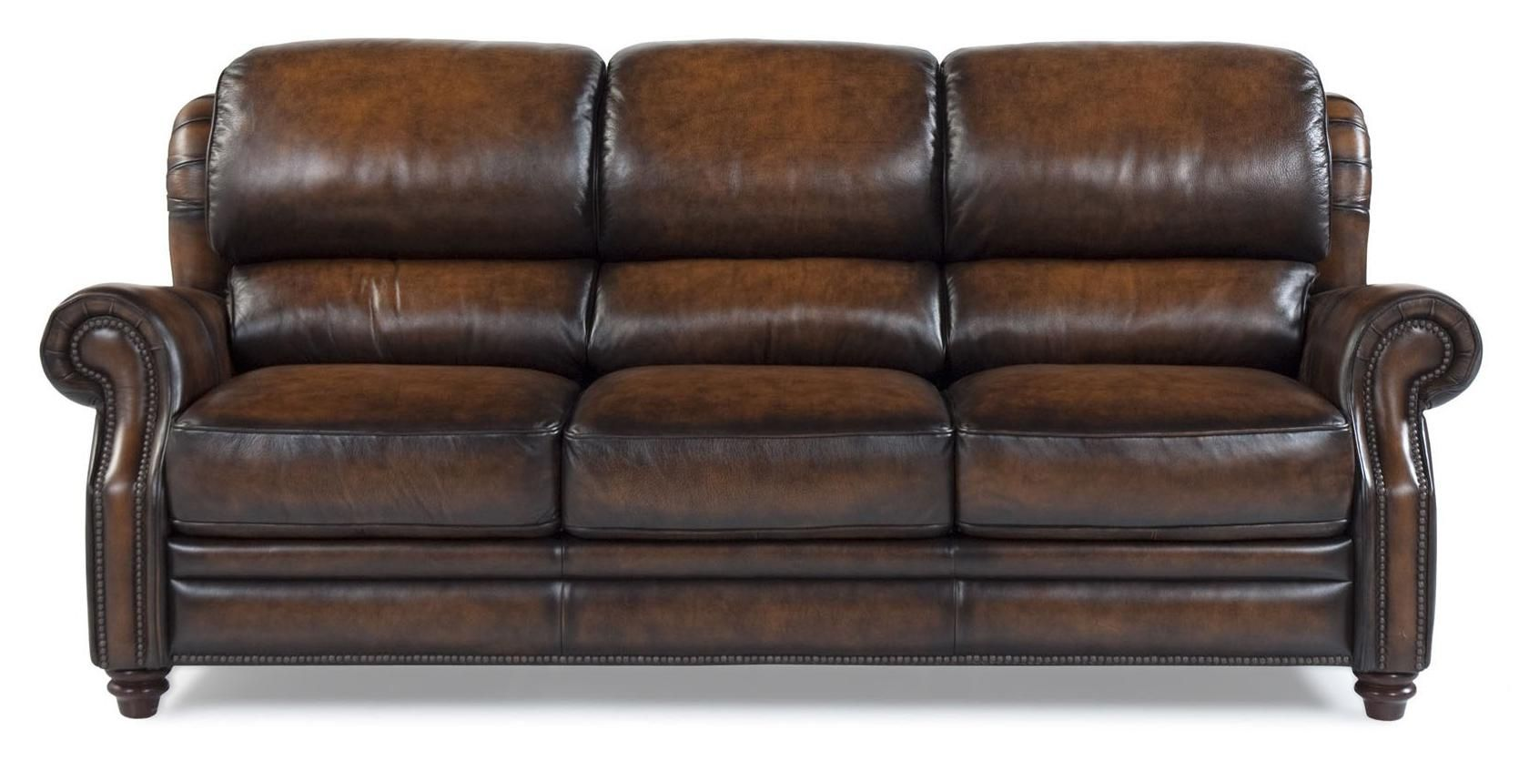 - 7736 TRADITIONAL LEATHER SOFA WITH BUSTLE BACK BY FUTURA LEATHER