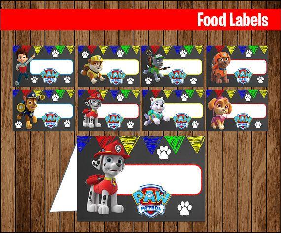Chalkboard Paw Patrol Food Labels Printable Paw Patrol Food