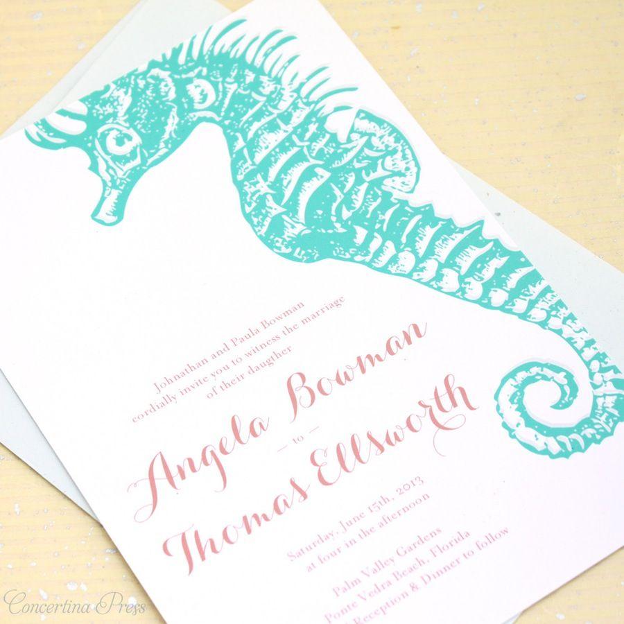 Image of Seahorse and Starfish Beach Wedding Invitations | shower ...