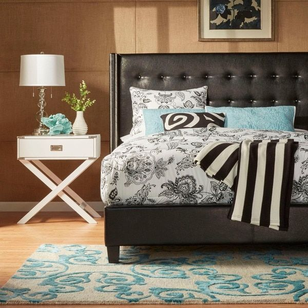 INSPIRE Q Marion Nailhead Wingback Tufted Upholstered Queen Bed ...